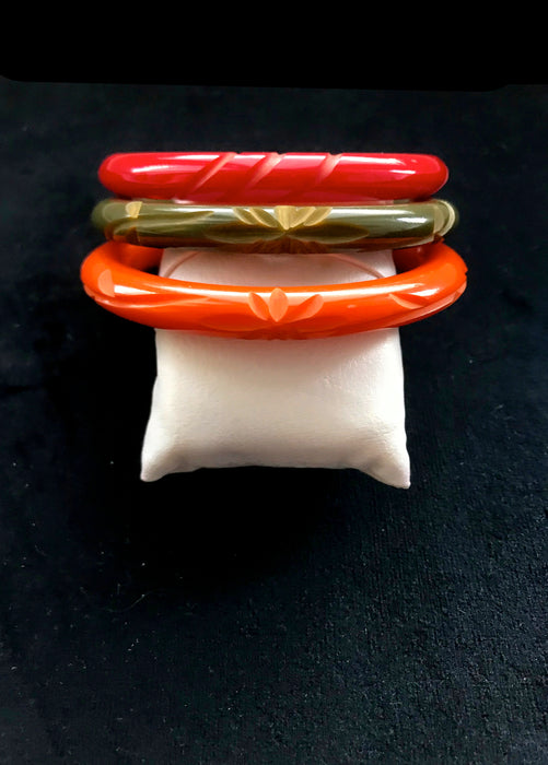 40s-50s Art Deco LOT of 3 Domed Genuine Bakelite Pumpkin Orange, Olive Green & Tomato Red Deeply Carved Bangle Bracelets Tested Authentic