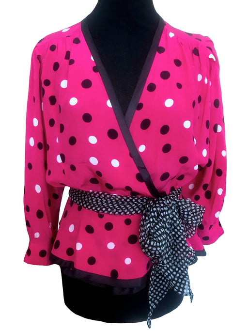 80s LOUIS FERAUD Pure Silk Hot Pink Black Polka Dot Dolman Sleeves Plunge Neckline Wrap Style Bias Cut Peplum Festive Party Top Blouse