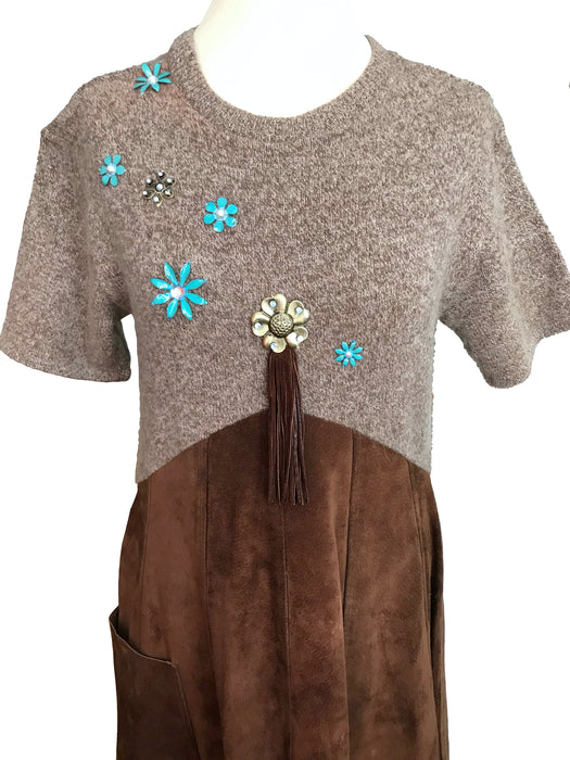 70s LAURA ASHLEY Lambswool Knitted Enamel Flower Embellished Top Genuine Suede Leather Full Skirt Wild West Americana Cowgirl Prairie Dress