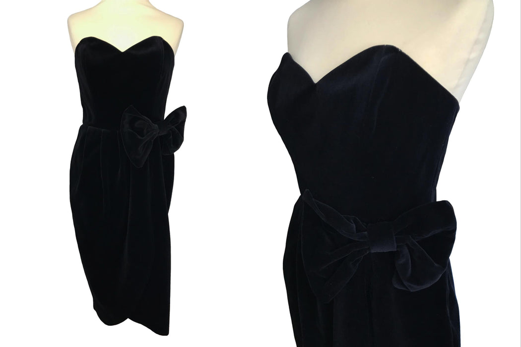 80s does 50s Divine Black Thick Cotton Velvet Sweetheart Wrap Strapless Bow Trim Occasion Evening Cocktail Party PinUp Bombshell Retro Dress