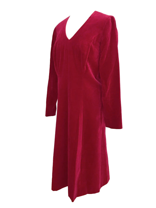 80s does 60s Wine Red Thick Cotton Velvet V-Neckline Flared Column Cocktail Xmas Party Occasion Evening Wedding Midi Dress Large X-Large