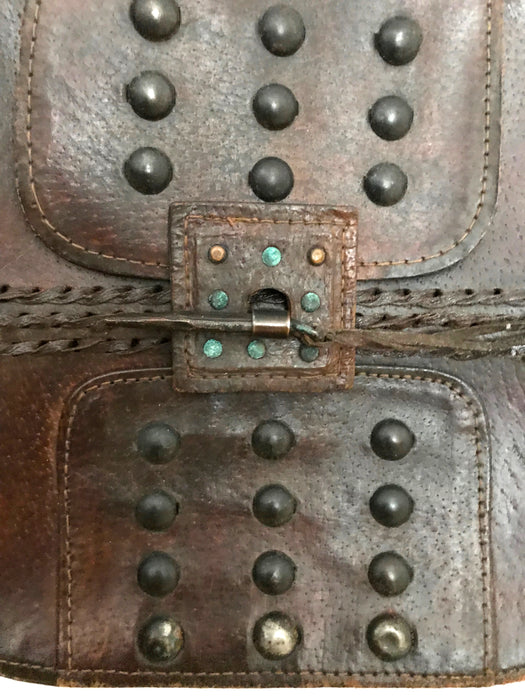 70s Brown Leather and Cast Iron & Bronze Studded Boho Hippie Shoulder Bucket Tote Hand Bag, Eastern Europe Folk inspired Leather Hand Bag