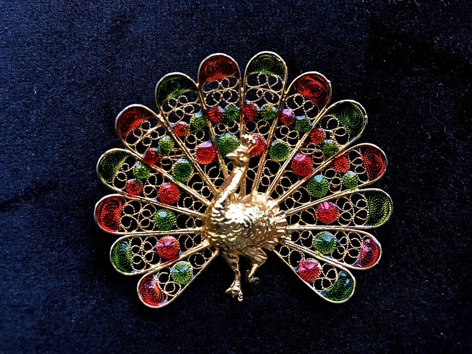 50s Gold Wash 800+ Silver Filigree Red & Green Enamel Peacock Figural Gift Brooch Pin, Antique Art Deco Style Lapel Shawl Scarf Hat Bag Pin
