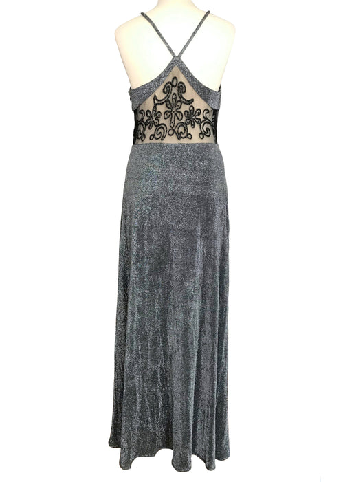 70s does 30s Bias Cut Silver Lurex Metallic Black Lace Mesh Beaded Waist Panel Slip Open Racer Back Sexy Xmas Party Evening Prom Maxi Dress