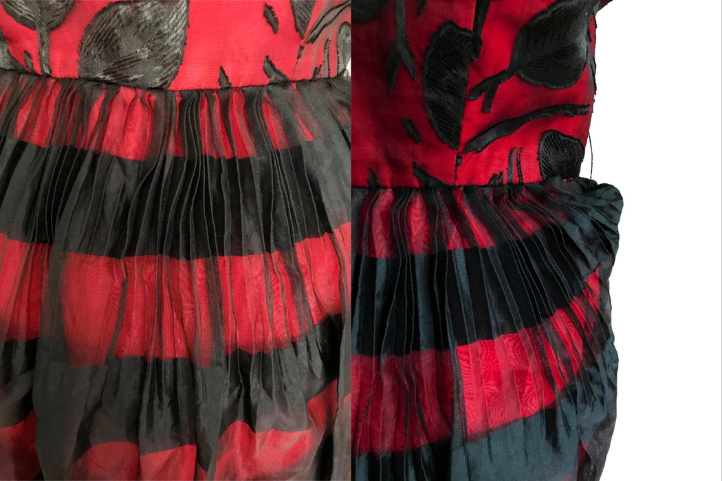 50s Bombshell Red Taffeta Black Organza Guipure Lace Overlay Bubble Pleated Skirt Prom Occasion Wedding Christmas Party Pin Up Midi Dress