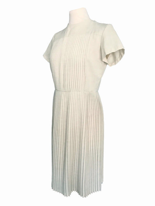 Early 50s VTG Cream All Pleated Short Sleeve Metal Zip Lovely Day Tea Dress, 40s 50s Rockabilly Career Office Wear Off White Occasion Dress
