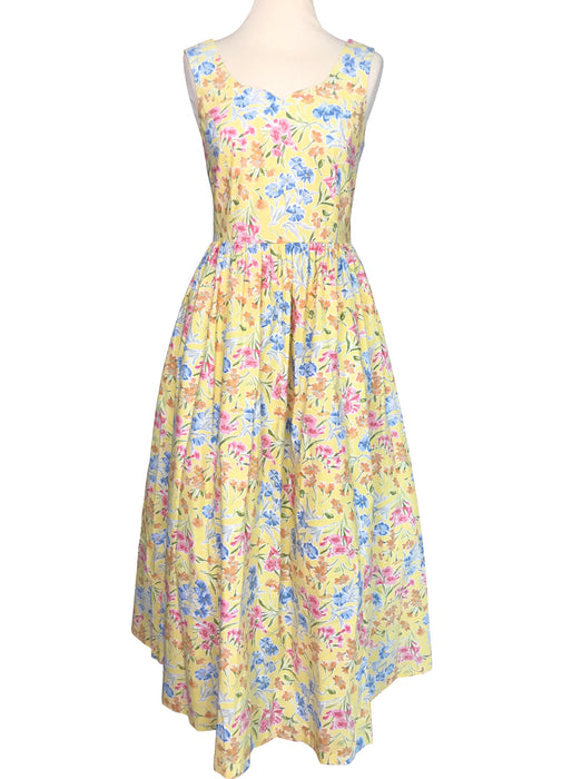 80s does 50s LAURA ASHLEY Sunshine Yellow Cotton Floral Summer Sun Dress, Sweetheart Full Circle Swing Pin Up Maxi Prom Garden Party Dress