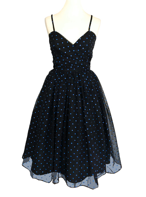 80s does 50s RADLEY Black Blue Polka Dot Chiffon Criss Cross Straps Cut Out Open Back Prom Party Dress Sheer Chiffon Sweetheart Pin Up Dress