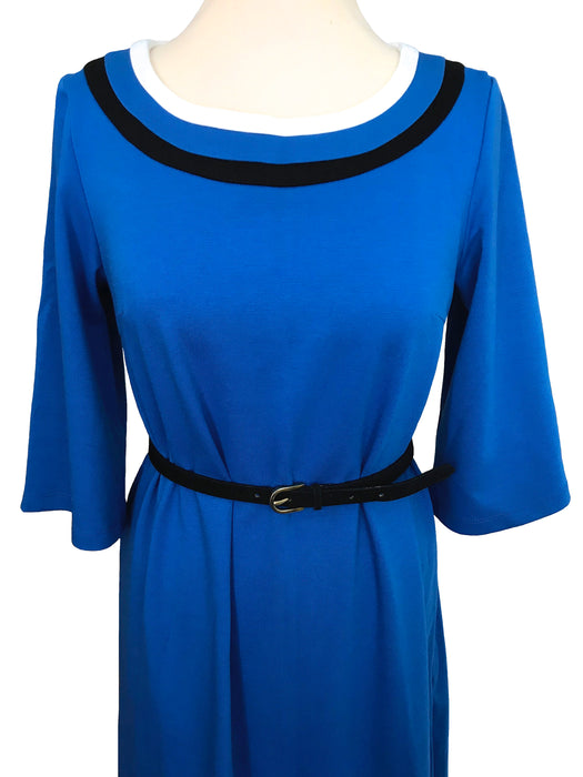 80s Retro Styled Cobalt Blue Nautical Cotton Knit Flare 3/4 Sleeve Trapeze Tea Midi Dress, Occasion Party Prom Wedding Races Cocktail Dress