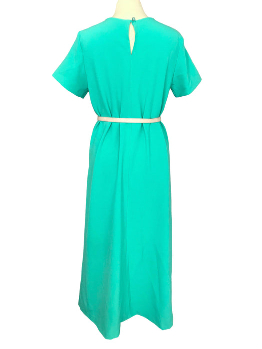 40s Style WWII Landgirl Vintage Retro Caribbean Turquoise Green Key Hole Bow Trim Trapeze Occasion Party Wedding Prom Races Tea Midi Dress