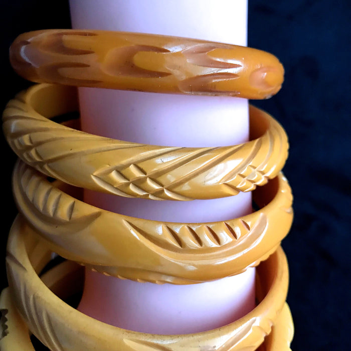 RARE 30s Set of 6 Genuine Bakelite Deeply Carved Bangles Bracelets Amber Yellow Butterscotch Tested Authentic, Collectible Bakelite Stack