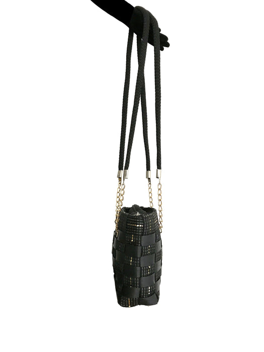 60s-70s Black Basketware Raffia Gold Hardwear Chain Shoulder Crossbody Bag Bucket Tote Bag, Boho Chic Festival Purse Pouch Shoulder Hand Bag