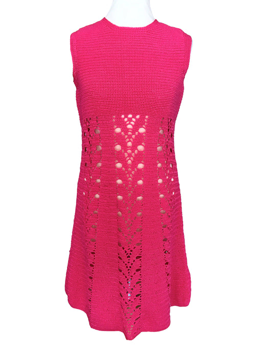 60s Hot Strawberry Pink Crochet Hand Knitted Shift A-Line Tank Mini Dress Twiggy Mod GoGo Mad Men Wiggle Summer Sleeveless Flared Day Dress