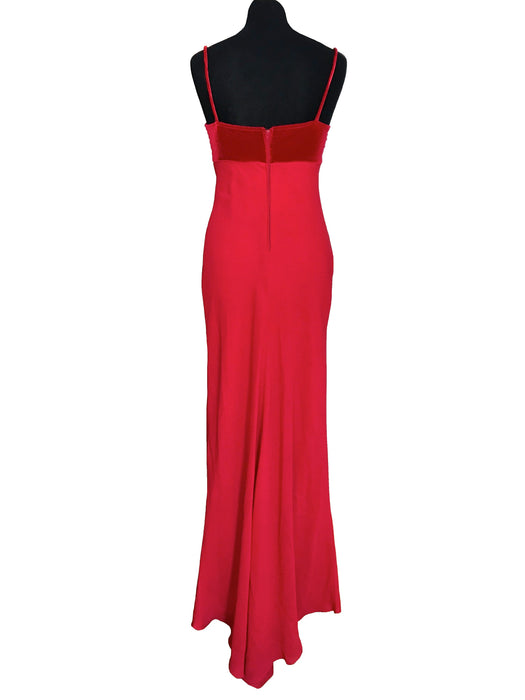 90s does 30s Art Deco Style Zum Zum by Niki Lives Red Chiffon & Velvet Bias Cut Ruched Butterfly Detail Fish Tail Prom Party Evening Dress,