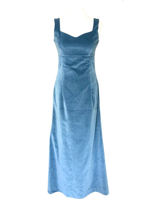 50s-60s Cornflower Blue Cotton Velvet Empire Waist Sweetheart Sleeveless Column MOD Evening Prom Party Occasion Wedding Races Maxi Dress
