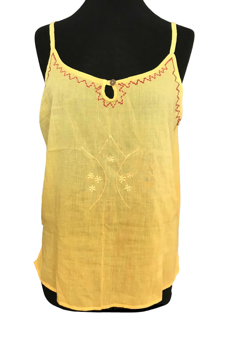 80s Semi Sheer Cotton Yellow Batiste Voile Red Folk Embroidery Tye Dye Ombre Beach Tank Top, Boho Hippie Spaghetti Strap Top LARGE X-Large