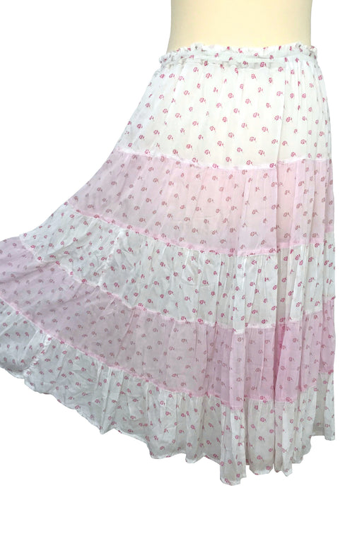 70s 100% Indian Cotton Voile White Pink Floral Gathered Tiered Broom Stick Boho Hippie Gypsy Summer Midi Skirt, Beach Garden Party Skirt
