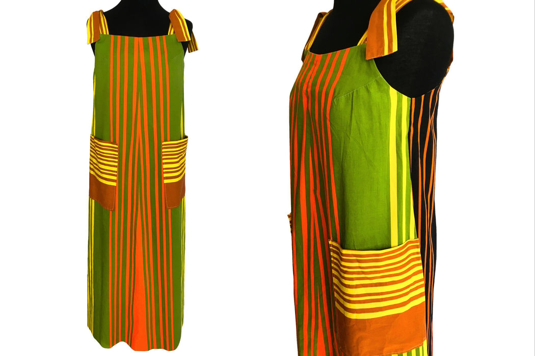 70s 100% Cotton Hawaiian Funky Retro Color Block Boating Stripe Tie Shoulder Boho Hippie Tent Sack Trapeze A-Line Maxi Sun Dress w/ Pockets