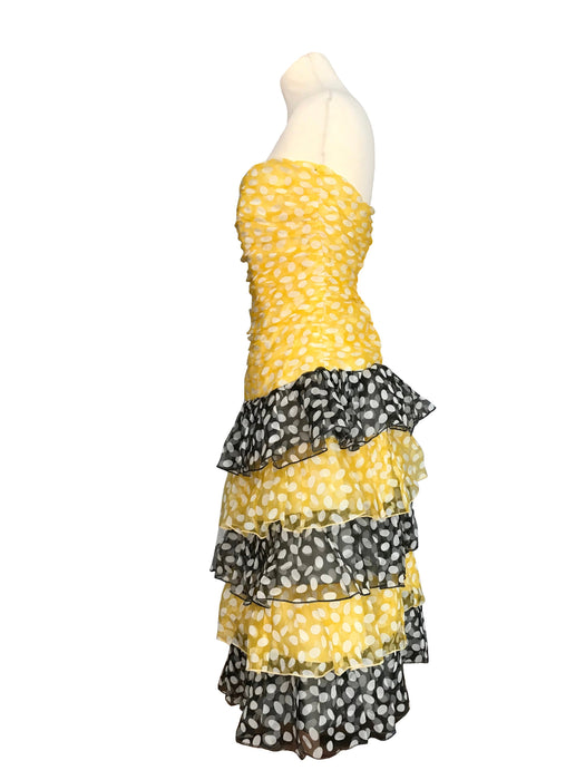 80s Sheer Chiffon Yellow Navy Blue White Polka Dot Strapless Ruched Drop Waist Ra-Ra Skirt Occasion Prom Cocktail Dance Party Summer Dress