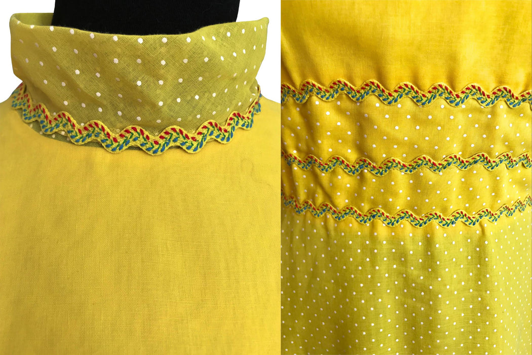 60s Miss ELLIETTE California Sunny Pineapple Yellow Swiss Dot High Mock Neck Festival Party Prom Wedding Maxi Dress, Summer Evening Dress