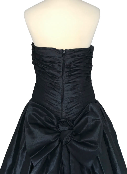 80s Black Ruched Corset Bodice Back Bow Detail Puffball Asymmetrical Hem Bubble Skirt Xmas New Year Party Princess Prom Fest Ball Gown Dress