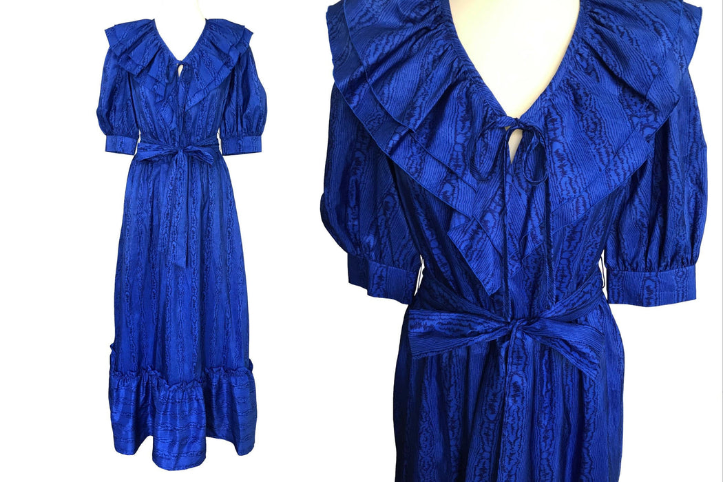 70s Electric Blue Wood Grain Pattern Ruffle Hem Frill Neck Prairie Style Boho Festival Belted Maxi Dress, Prom Wedding Races Party Dress