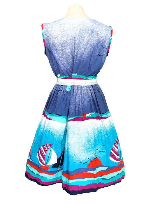 80s does 50s 100% Cotton Nautical Sailor Boat Yachts Novelty Print Handmade Pin Up Rockabilly Swing Dress, Summer 4th of July Blue Red Dress