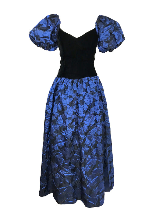 80s Silk Jacquard Rose Print Indigo Blue Black Full Skirt Velvet Sweetheart Corset Puff Sleeves Off the Shoulder Low Cut Back Prom Ball Gown