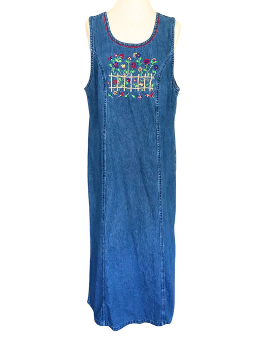 90s Vintage Denim Jumper Jean Sleeveless Dress, True Old Denim Summer Side Slit Loose Maxi Maternity Dress with Floral Embroidery M-L