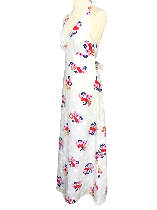 70s Off White Cream Polka Dot Textured Cotton Blue Red Pink Floral Print Halter Neck Low Cut Open Back Boho Summer Prom Tie Party Maxi Dress