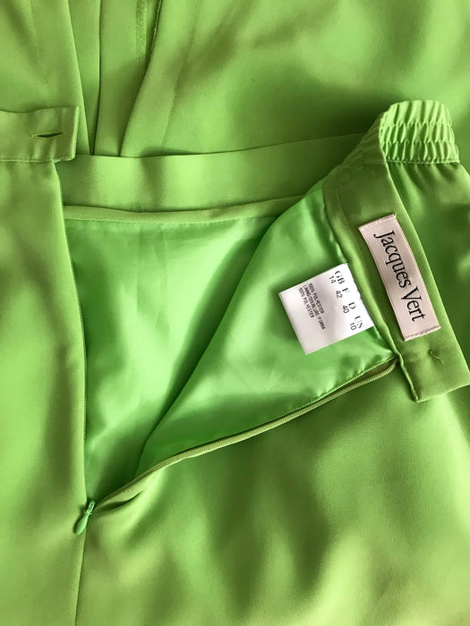 Original 90s Vintage Jacques Vert Lime Green Chartreuse Longline Front & Back High Slit Formal Event Pencil Skirt w/ Elasticated Waist M-L
