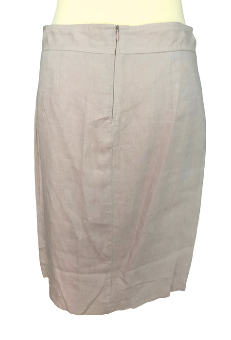 90s 100% Linen Pinkish Nude-Natural Front Side Slit Summer Pencil Skirt, Career Secretary Everyday Office Business Wear Knee Length Skirt M