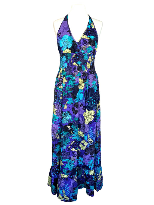 70s VTG 100% Cotton Purple Blue Yellow Black Halter Neck Smock Waist Low Back Ruffle Hem Beach Festival Boho Hippie Party Summer Maxi Dress