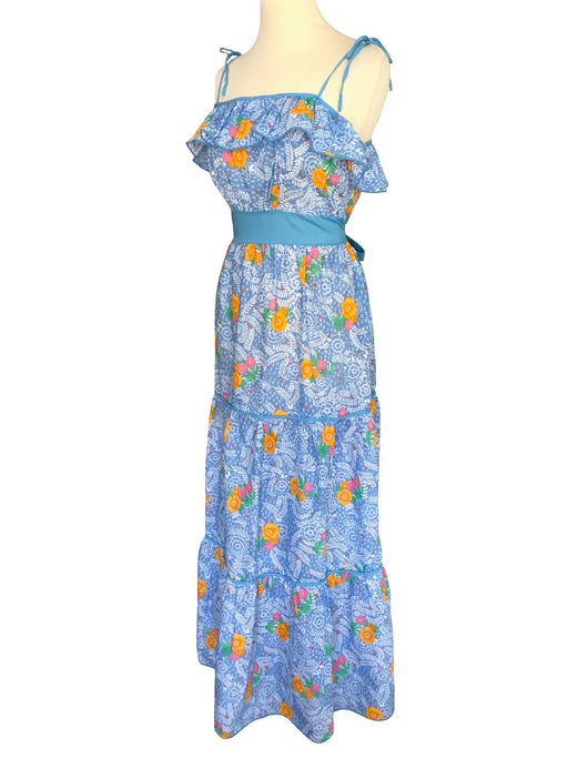 b9d87a6eb9ee 70s Blue Pink Orange Floral Print Tie Shoulder Tiered Boho Hippie Festival  Ruffle Frill Summer Maxi