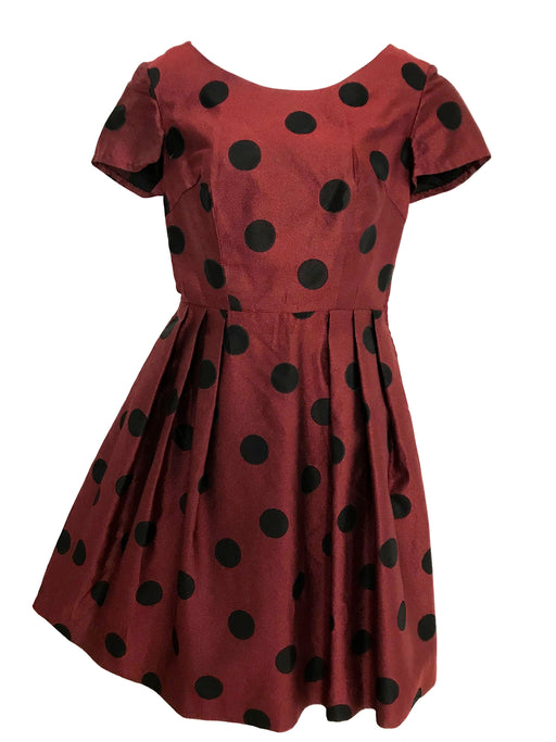 50s Vintage Brick Red Spicy Cinnamon & Black Large Spot Polka Dot Pleated Skater Circle Swing Cocktail Party Prom Pin Up Rockabilly Dress
