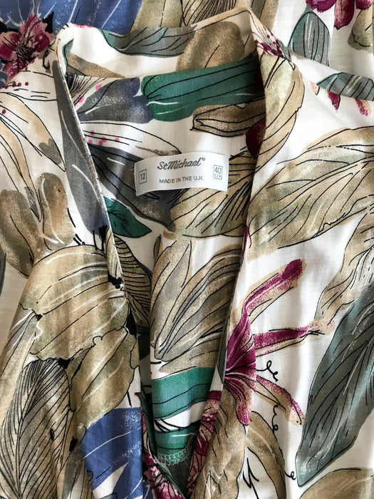 80s Botanical Tropical Hawaiian Print Viscose Jersey Slinky Wrap Plunge Neck Kimono Sleeve Career Office Wear Cocktail Party Occasion Dress
