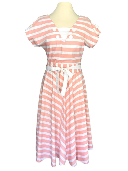 80s 100% Cotton Coral Peach White Striped Nautical Sailor Cut Out Back Kimono Sleeve Tie Sash Belted Dress With Half Circle Bias Cut Skirt