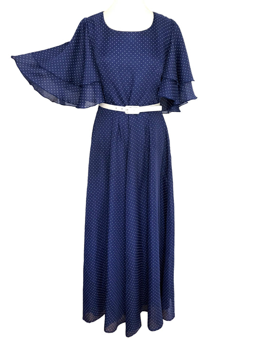 70s Navy Blue & White Polka Dot Flared Bell Double Layered Wing Sleeve Boho Festival Maxi Dress, Evening Occasion Party Wedding Guest Dress