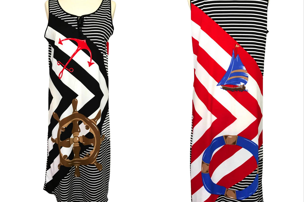 80s Nautical Sailor Black White Red Blue Ship Wheel Anchor Sailboat Print Sleeveless Day Dress, Striped Column Shift MOD Cruise Jersey Dress