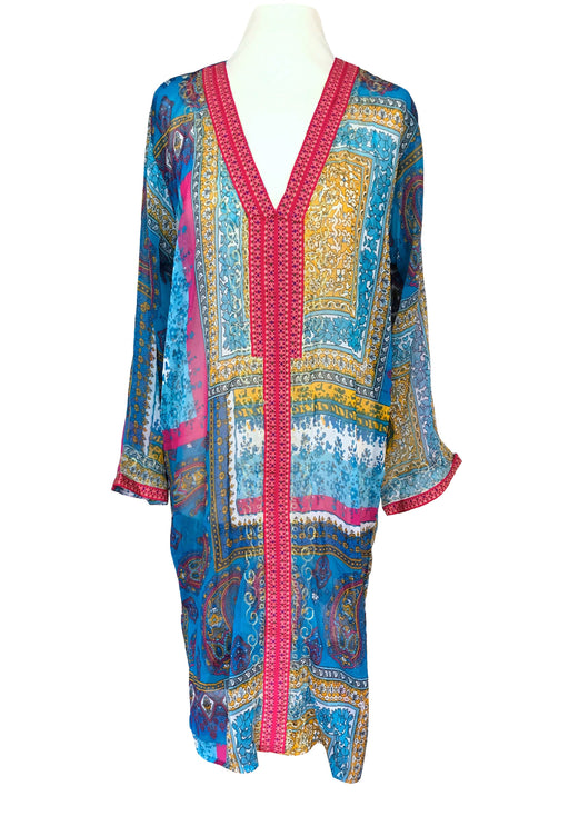 90s Sheer Chiffon Blue Red Yellow Paisley Print Beach Kaftan Long Tunic House Lounge Wear Dress, Hippie Bohemian Chiffon Ethnic Midi Kaftan