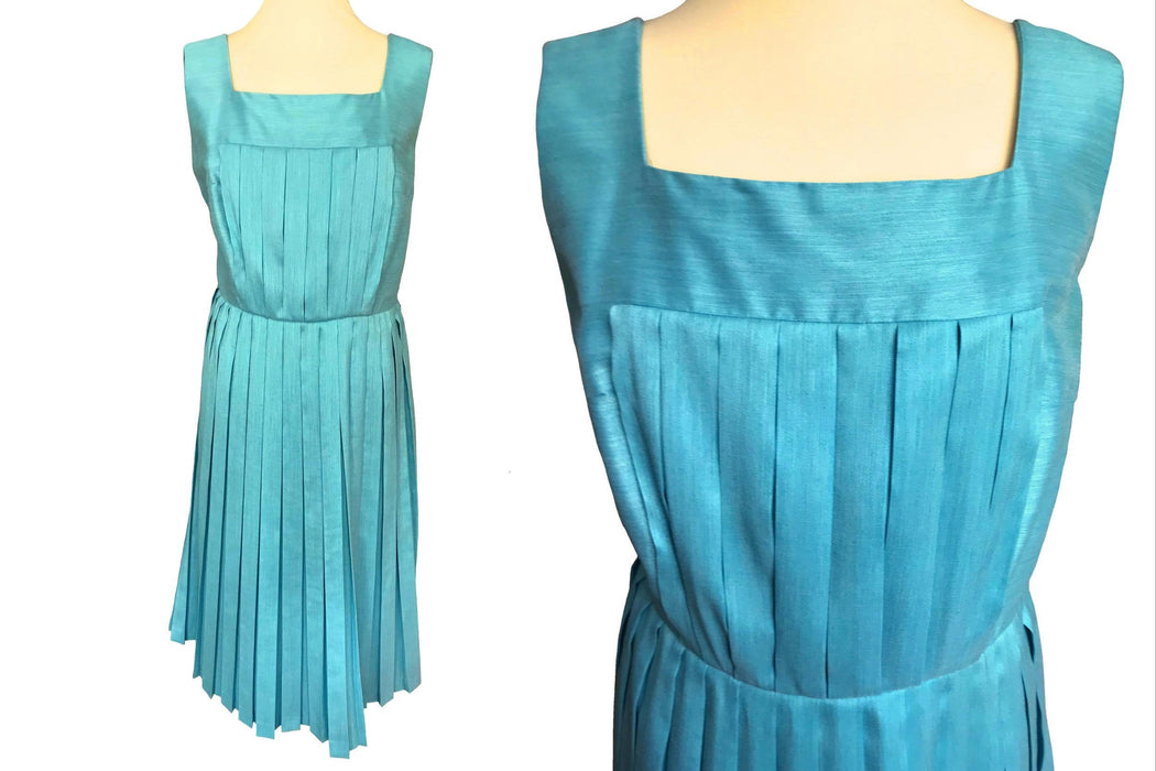 Early 60s Aqua Turquoise Blue Duck Egg Greenish Wool Blend All Pleated Sleeveless Day Dress, Blue Wool Rockabilly Summer Occasion Tea Dress