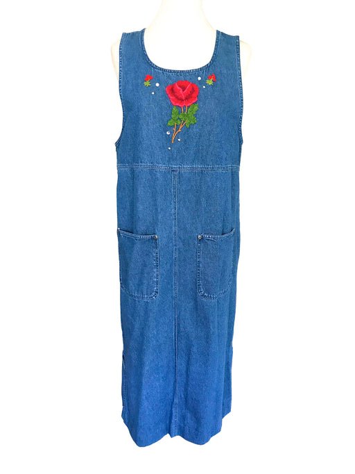 90s Vintage Denim Sleeveless Jean Jumper Dress with Red Floral Embroidery and Patch Pockets, Summer Loose Maternity Denim Maxi Dress M-L