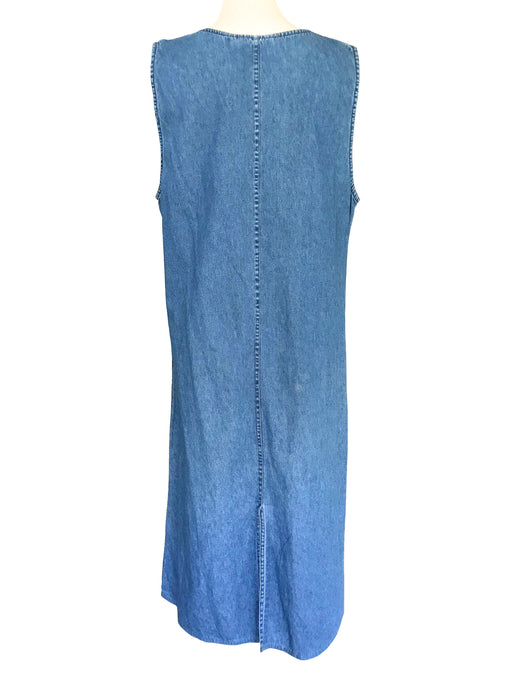 90s Vintage Denim Jumper Jean Sleeveless Dress with Giraffes Family Embroidery Applique, Summer Loose A-Line Denim Maternity Maxi Dress M-L