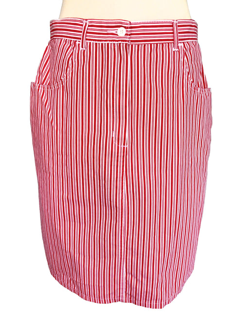 80s 100% Cotton Red White Striped Nautical Sailor Summer Cruise Vacation Yacht City Break Denim Type Pencil Skirt w/ Pockets sz Large-XLarge