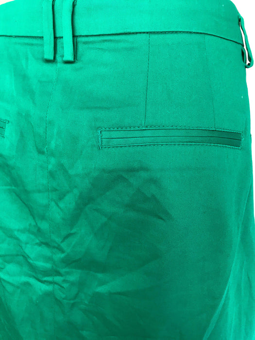 80s VTG 100% Polished Cotton Emerald Kelly Green Summer Cruise Vacation City Break Denim Type Cut Pencil Skirt w/ Pockets sz Large-XLarge