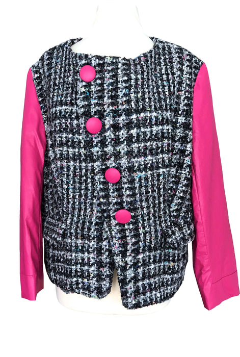 80s Plus Size Boucle Check Pattern Tweed Wool Hot Pink Faux Leather Asymmetrical Jacket Retro Boho XL, Fall Winter Grey Pink Big Button Coat