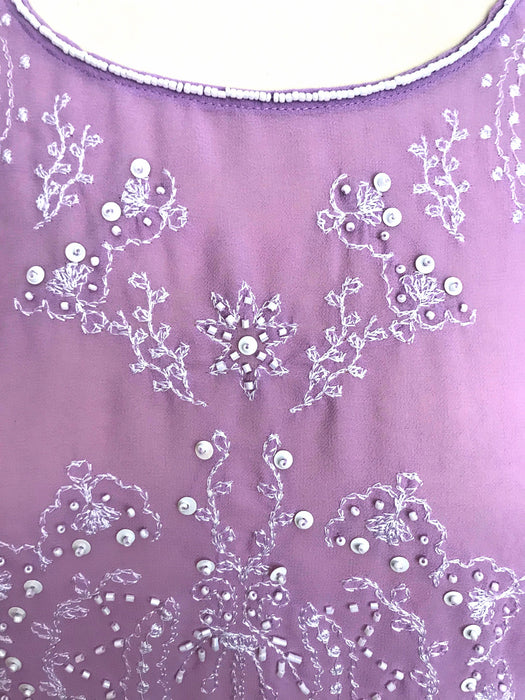 80s-90s Lavender Lemonade Art Deco Style Flapper Gatsby Chiffon Camisole Top Sequinned Beaded Cami Tank Top, Wedding Races Fest Party Top