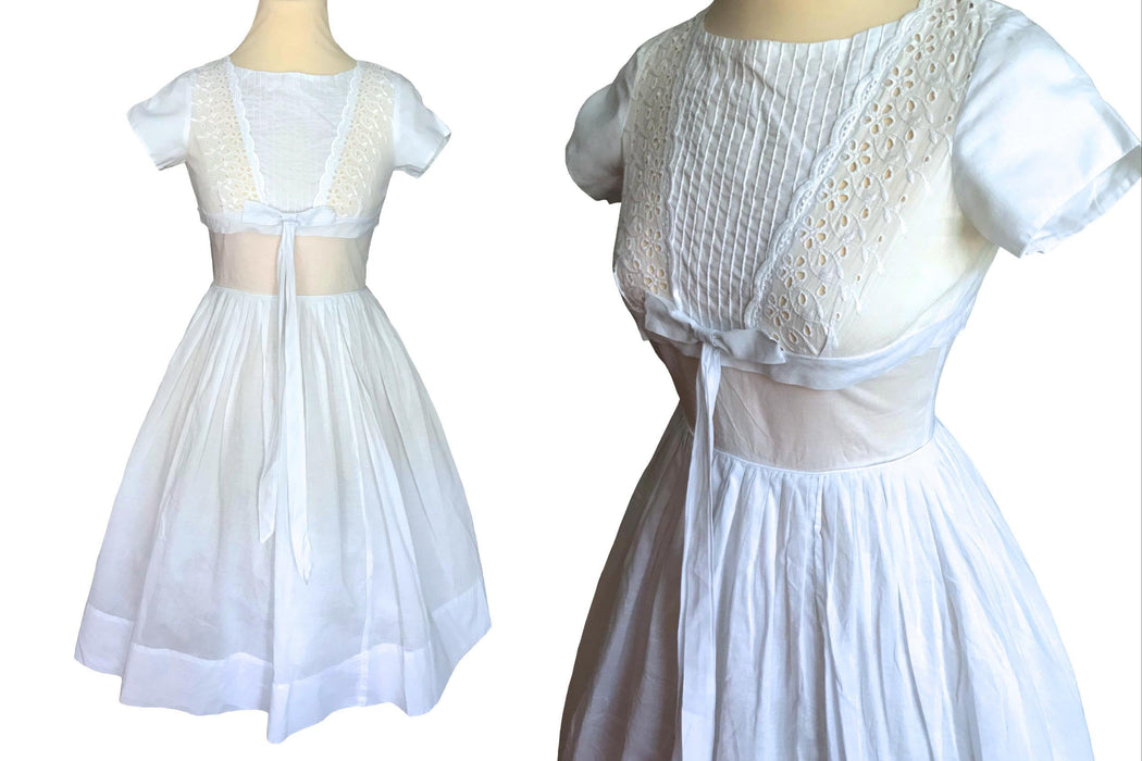 50s VTG 100% Cotton Batiste Broderie Anglaise Eyelet Full Circle Swing Wedding Bridal Occasion Party Swing Pin Up Bombshell Rockabilly Dress