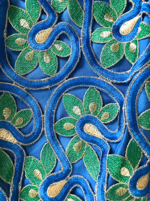 80s Silk Azure Blue Green Gold Applique Embroidered Flower Cold Shoulder Ruched Bow Trim Puff Skirt Prom Party Cocktail Wedding Races Dress