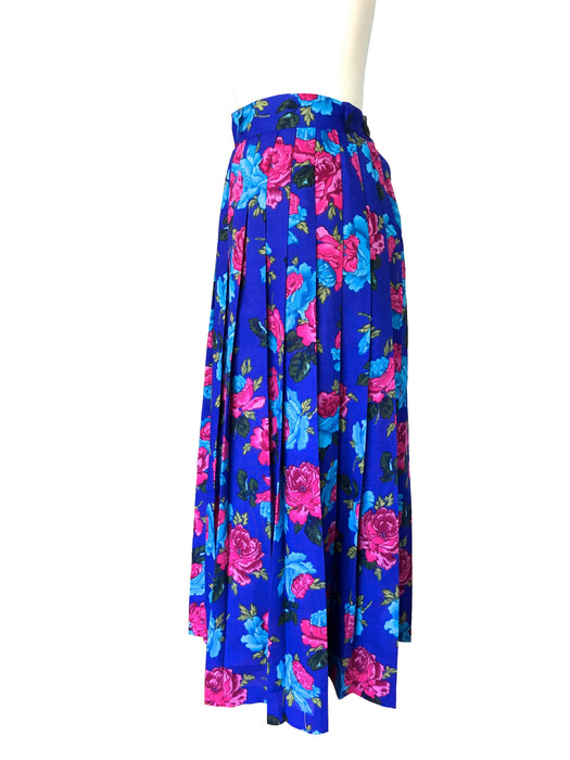 80s Royal Blue Pink Turquoise Floral Rose Print Pleated Lower calf Length Retro 50s Style Wool Blend Pleated Lindy Bop Dance Festival Skirt